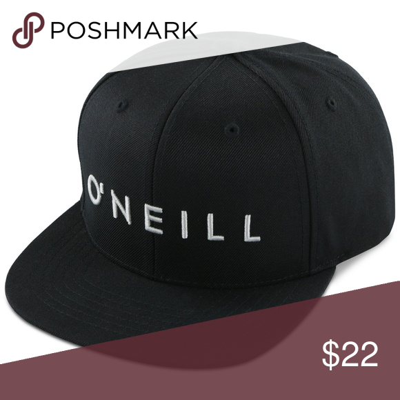 O'NEILL Black Snapback Yamboa Embroidered Hat NWT Black