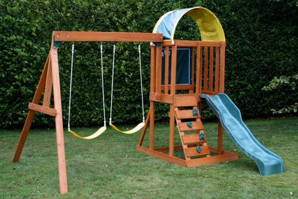 Small Wooden Swing Play Sets With Stairs And Blue Sliding As Well As Wooden Swing Sets For Toddlers And Swing Sets For Toddlers Backyard 580x387 Mainan