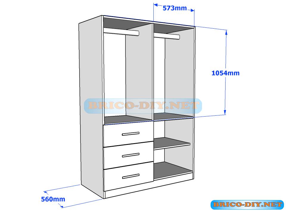 Mira estos planos para ropero guardarropa con gavetas en for Planos de muebles de madera pdf