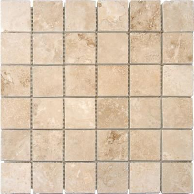 Msi Ivory 12 In X 12 In X 10 Mm Honed Travertine Mesh Mounted Mosaic Tile 1 Sq Ft Thdw1 Sh Ivo2x2 The Home Depot Mosaic Flooring Mosaic Tiles Travertine