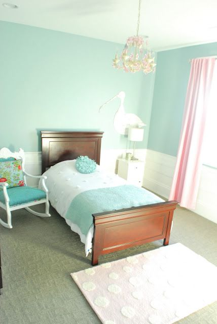 Simple Light Blue And Pink Girls Room