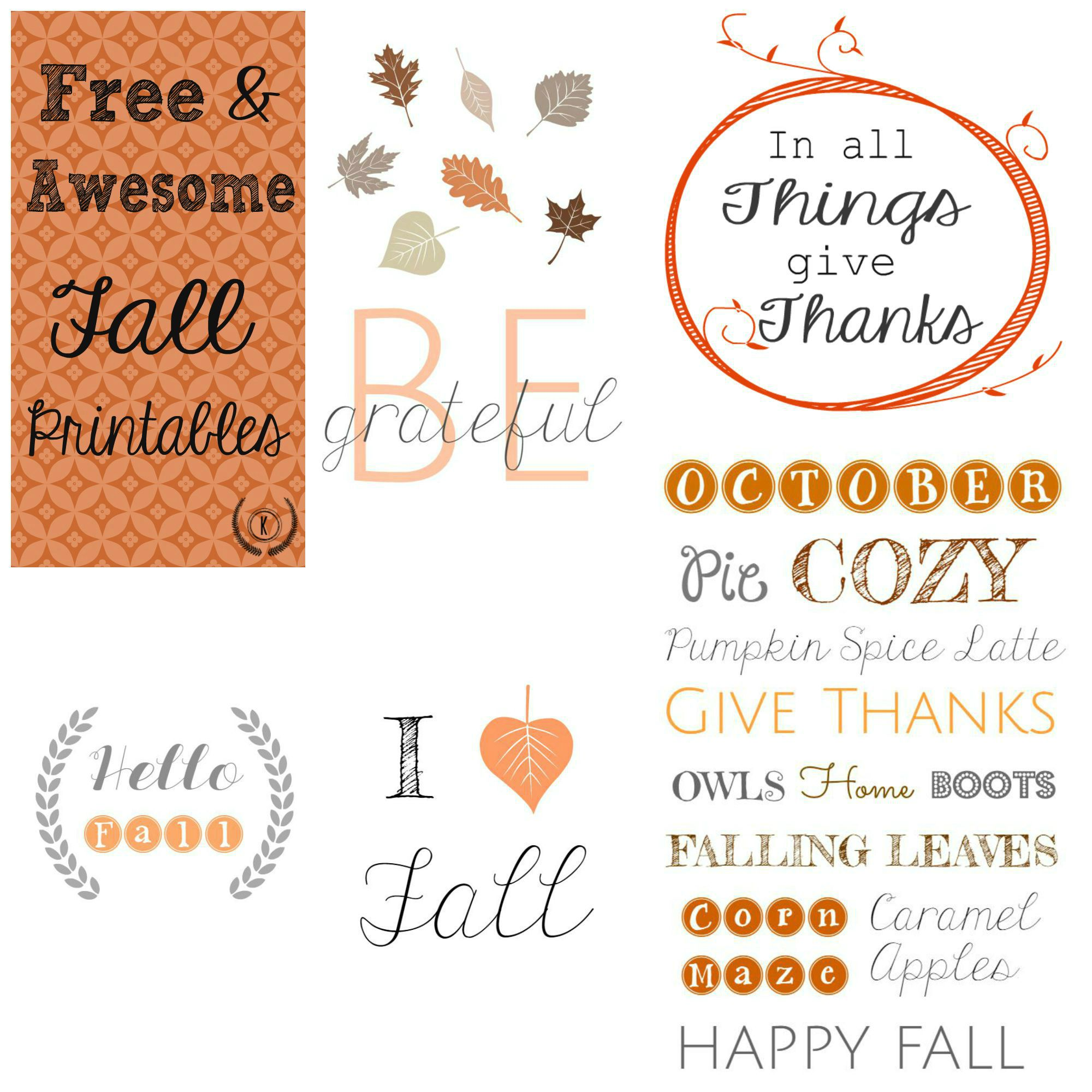 Free & Awesome Fall Printables |