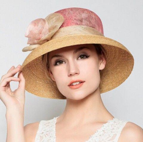 Elegance Flower Straw Hat Ladies Wide Brim Sun Hats Uv Protection Wide Brim Sun Hat Sun Hats Beautiful Hats
