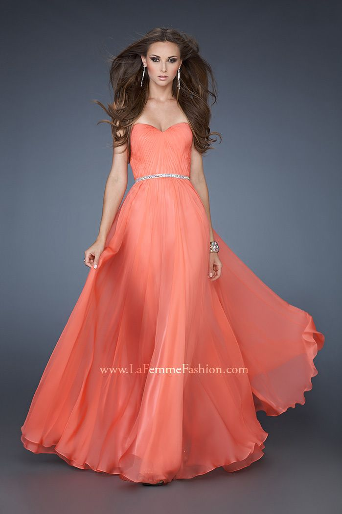 Hot Coral Beaded La Femme 18332 Long Prom Dress Strapless for Cheap