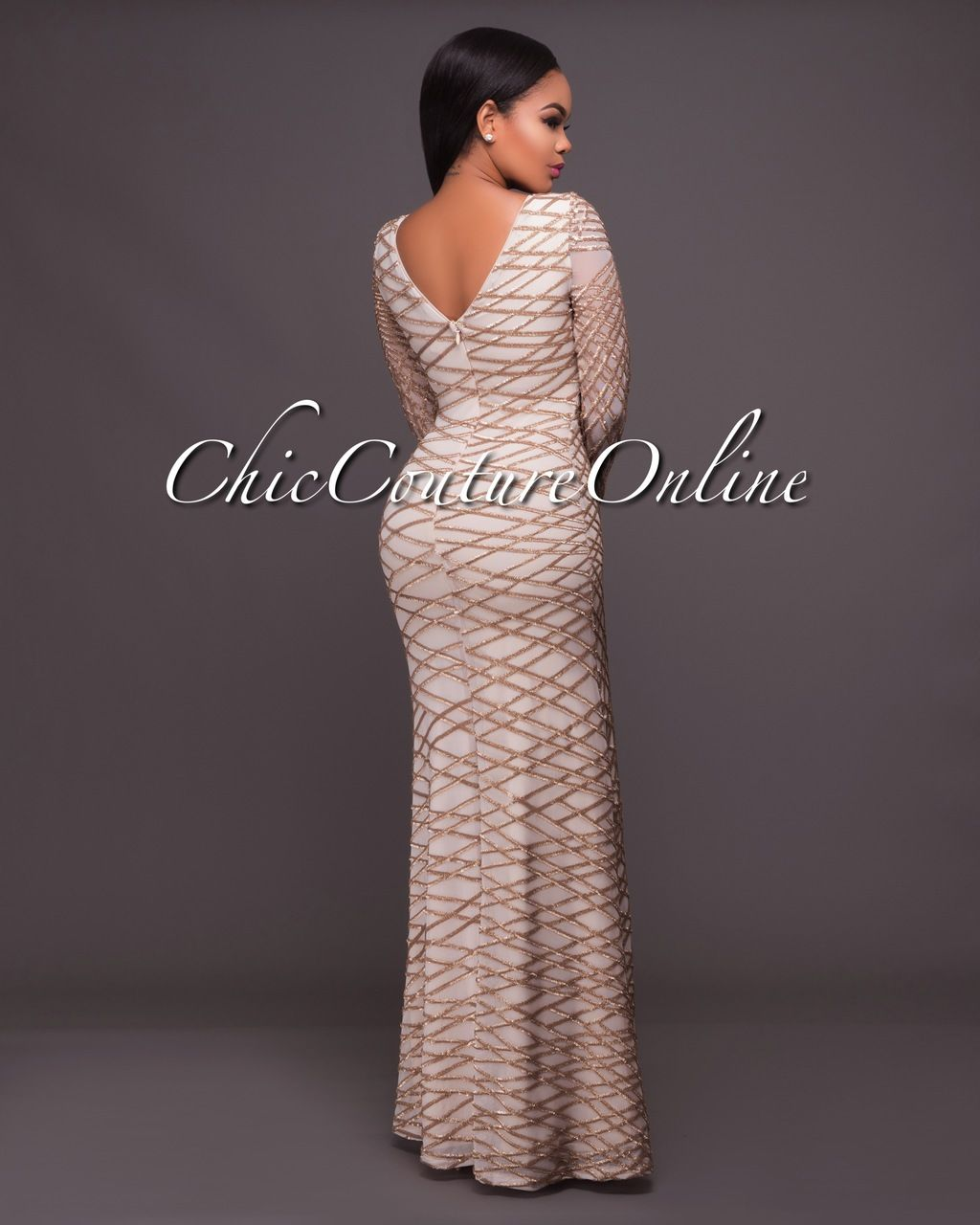 Chic Couture Online - Azmina Nude Gold Sequins Long Sleeves Gown ...