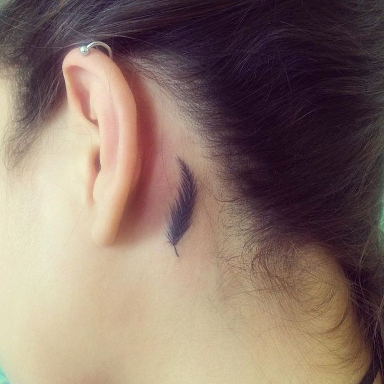 Small Feather Behind The Ear Behind Ear Tattoo Small Feather Tattoo Ear Behind Ear Tattoos