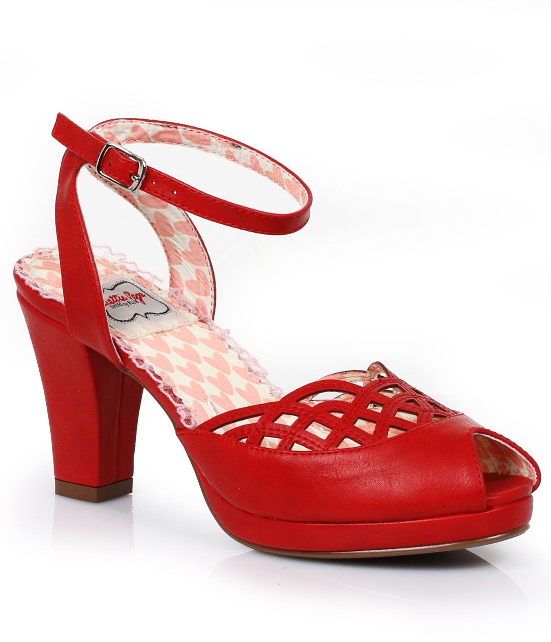 1950sStyleShoes Red Lattice Cutout Darla Vintage Peep Toe Pumps $88.00 AT vintagedancer.com