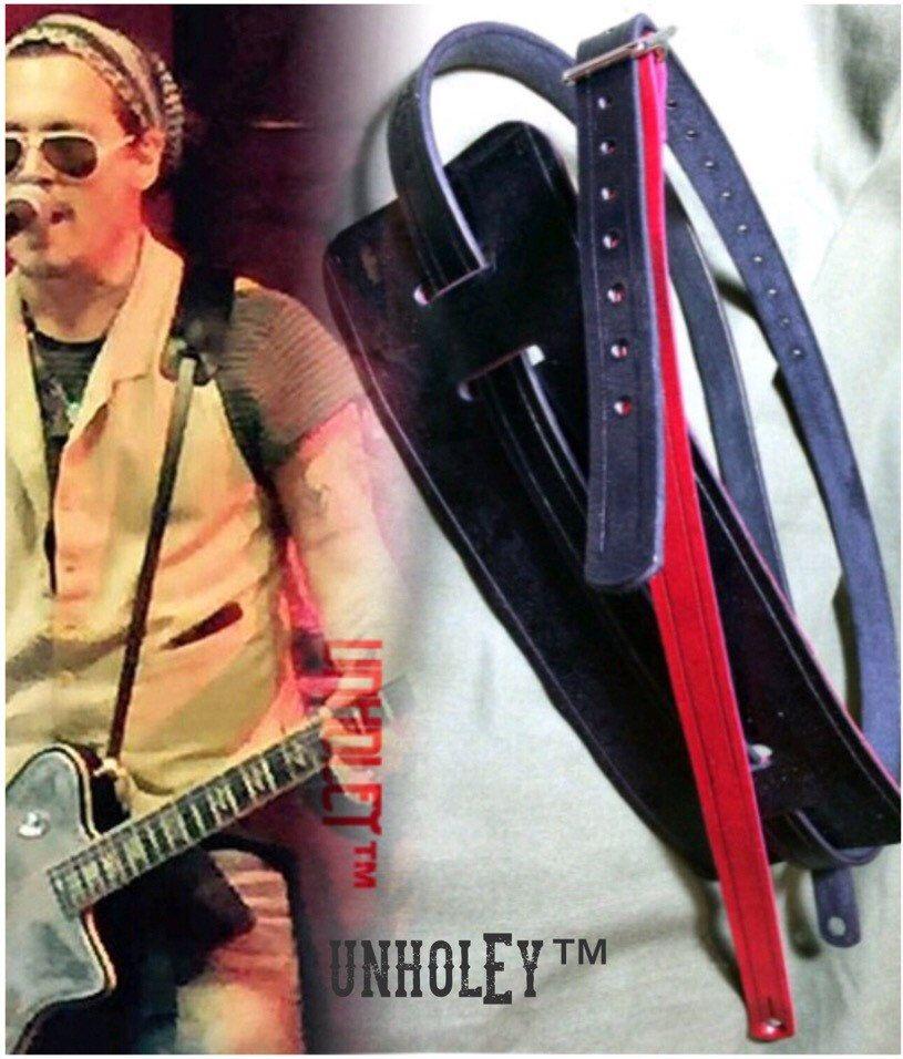 unholEy Brand Fine Leather Skinny Guitar Strap. Johnny Depp Hollywood Vampires