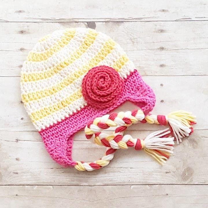 Crochet Striped Rosette Flower Beanie Hat Braided Braids Newborn Infant Baby … 639c837d441f