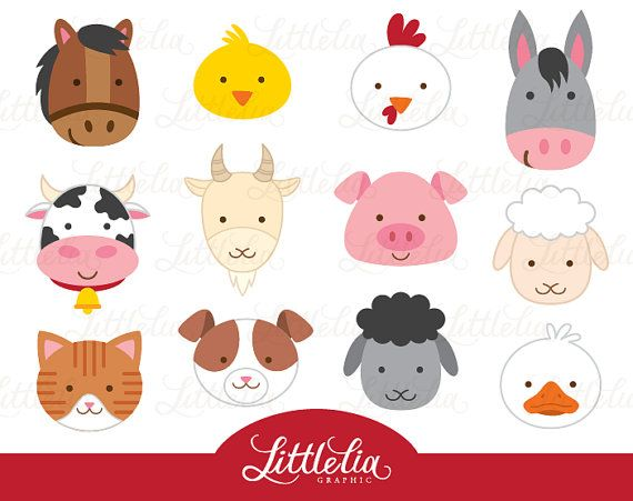 Farm Animal Clipart Head By LittleLiaGraphic