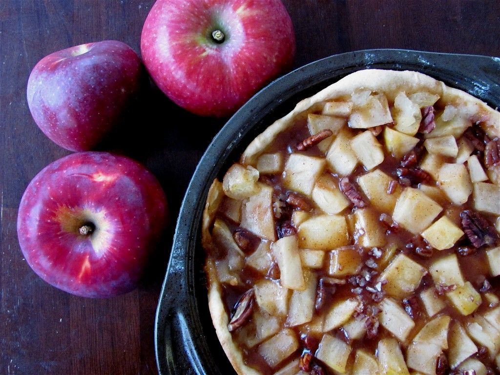 Open Faced Apple Pie. Thanksgiving Dinner Dessert. Food