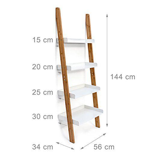 Relaxdays - Estantería estilo escalera de bambú, con 4 ...