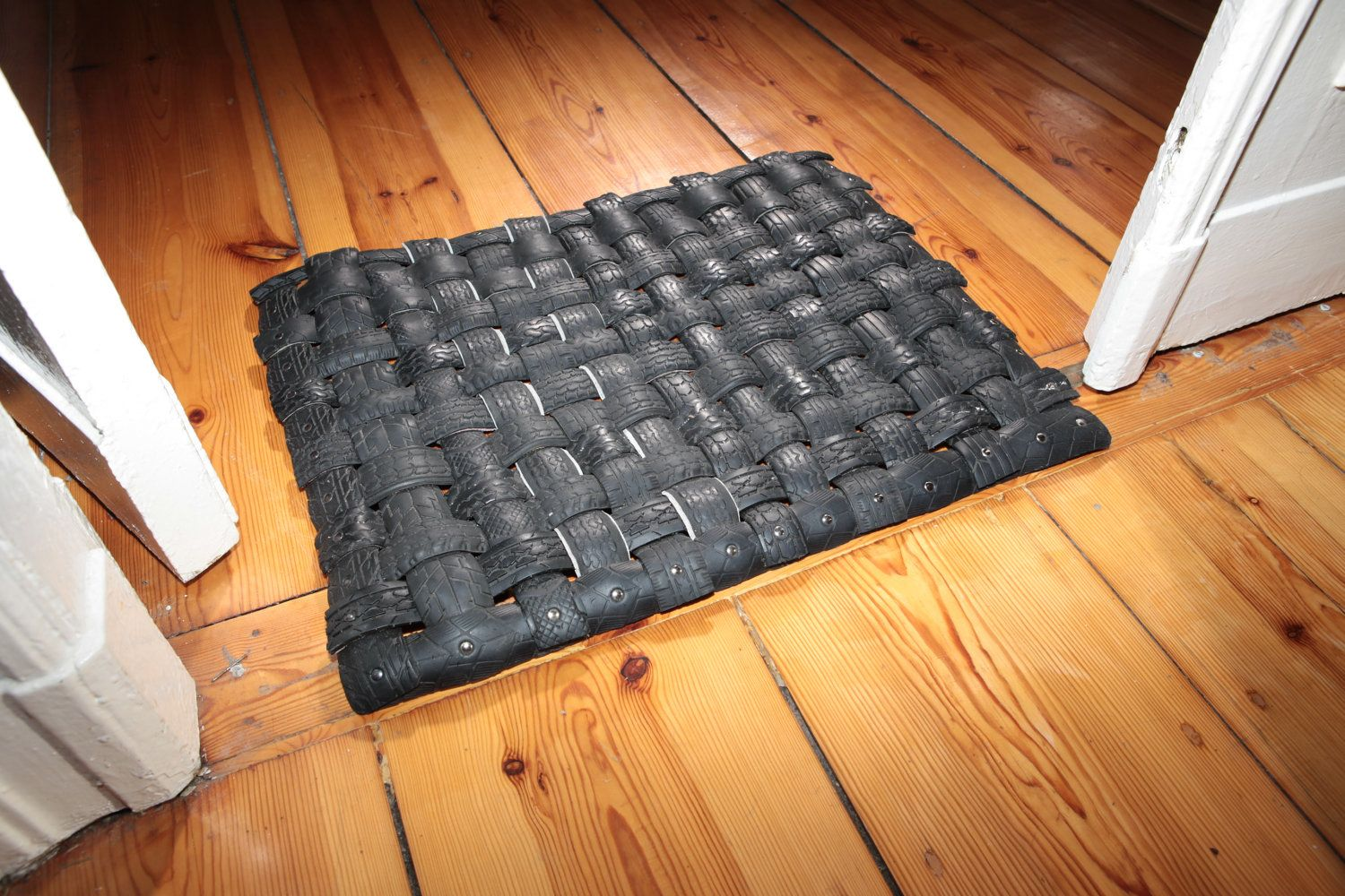 Handamade Upcycled Recycled Tire Doormat By Tirebelt Com 29 00 Via Etsy Tyres Recycle Recycled Bike Parts Upcycle Tires