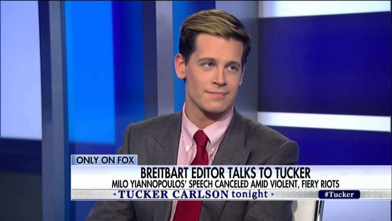 2/2/17 - After violent protests erupted at the University of California-Berkeley, before his scheduled speaking engagement, GAY, conservative activist and journalist Milo Yiannopoulos joined Tucker Carlson to discuss the incident.