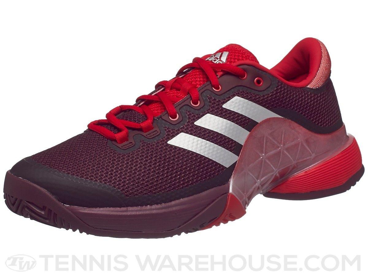 adidas Barricade Boost Silver Scarlet Mens Tennis Shoes