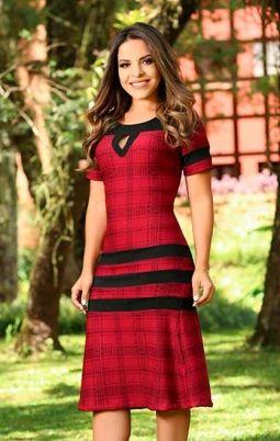 Vestido para evangélica clássico vermelho