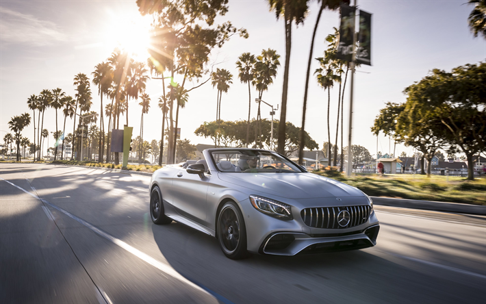 Download wallpapers Mercedes-Benz S63 AMG, 2018, gray cabriolet ...