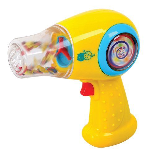 """Toy Hair Dryer - Toddler see, toddler do? Our toy hair dryer looks and sounds like yours, except it blows confetti around inside the clear nozzle, instead of blowing warm air out. Play house, imitate Mommy, and """"style"""" those pigtails! Batteries inclu"""