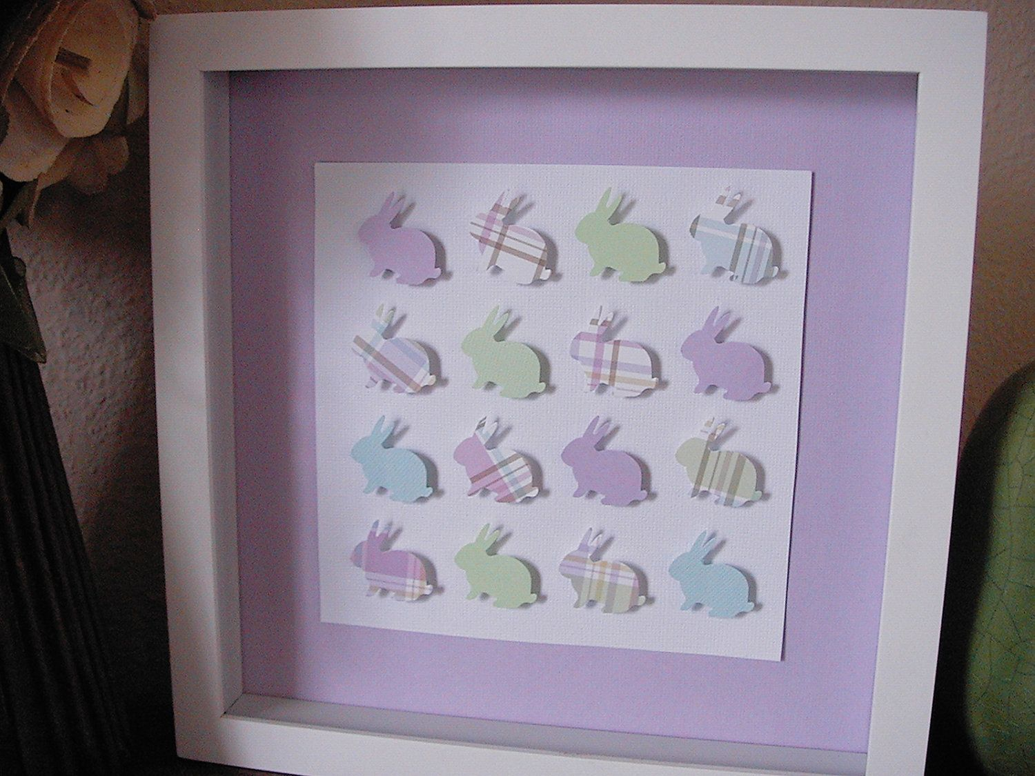 D wall art little bunnies in pale plaid frame and glass included