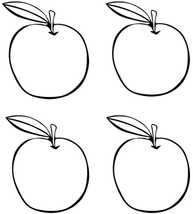 Four Apples Coloring Page Apple Coloring Pages Apple Coloring