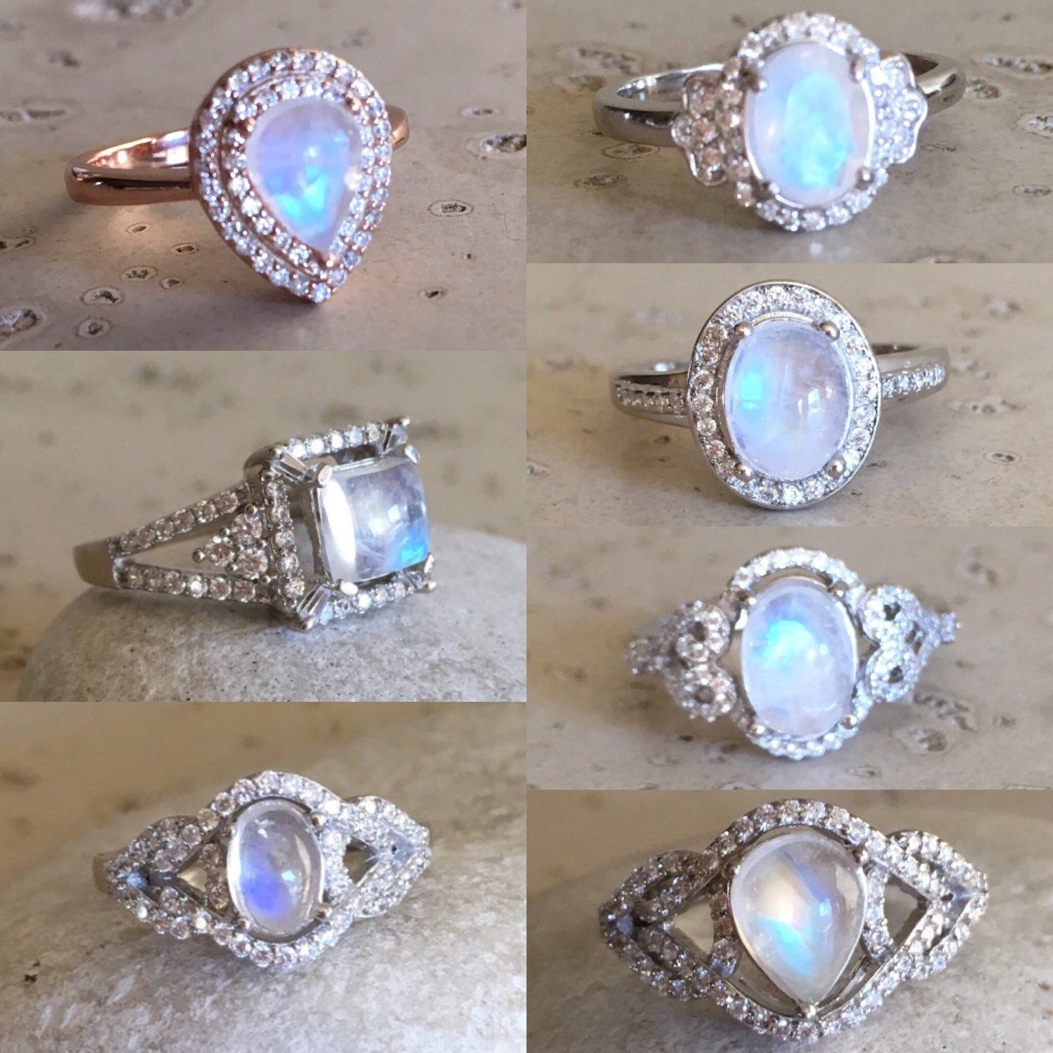 Rainbow moonstone engagement ring moonstone statement promise ring