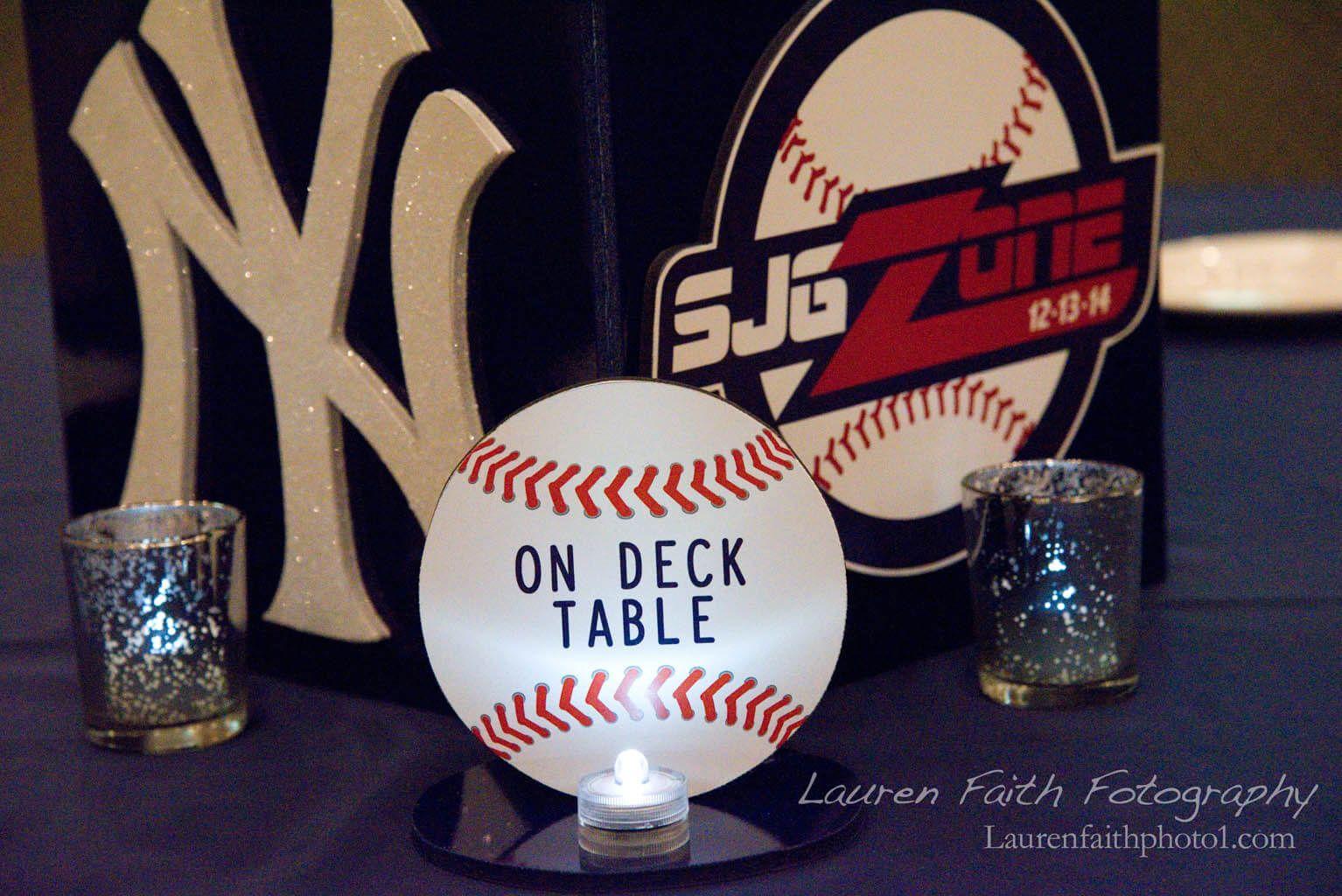 Baseball Table Sign Baseball Table Sign with Players Names for Baseball Themed Bar Mitzvah