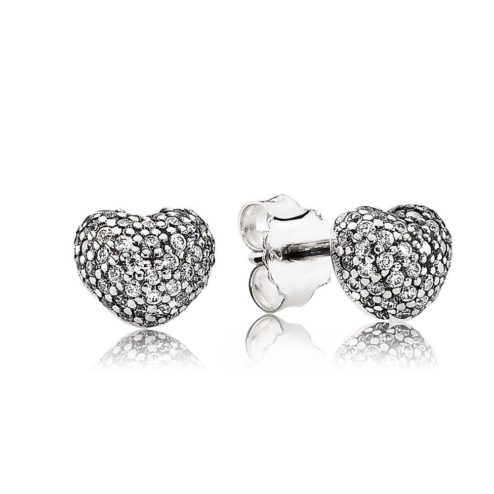 2ae818bce5be Pendientes Pandora con forma de corazón en plata de ley y circonita cúbica  transparente en pavé
