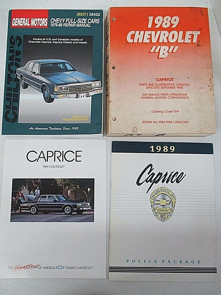 Lot Of 2 Books And 2 Brochures 1989 Chevrolet Caprice Service Manuals Police Chevrolet Caprice Chevrolet Brochure