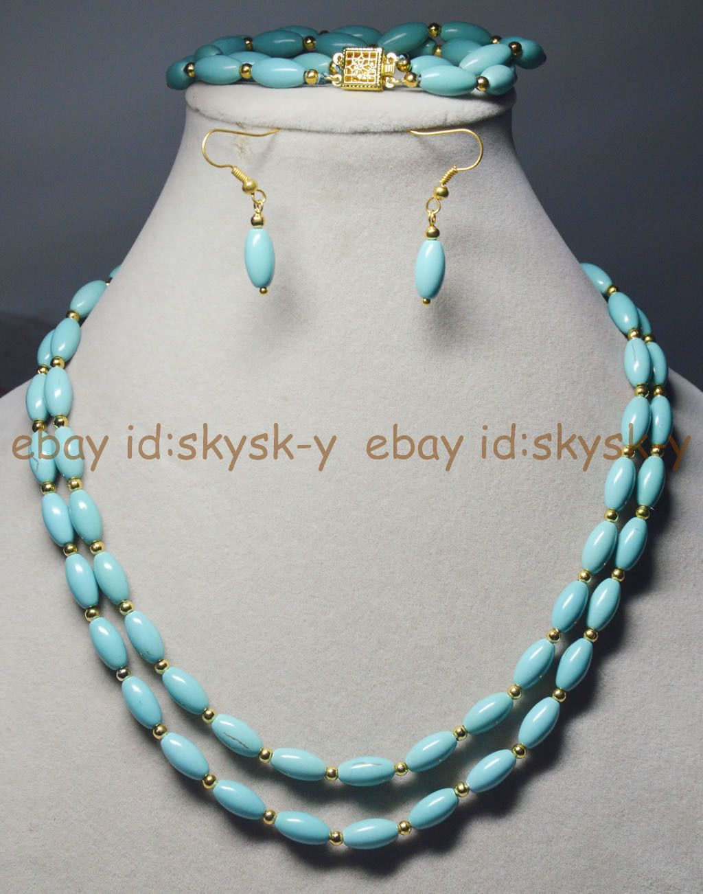 4d0e10671 2 Rows Natural 6X11Mm Blue Turquoise Rice Gems Beads Necklaces Brecelet  Earrings