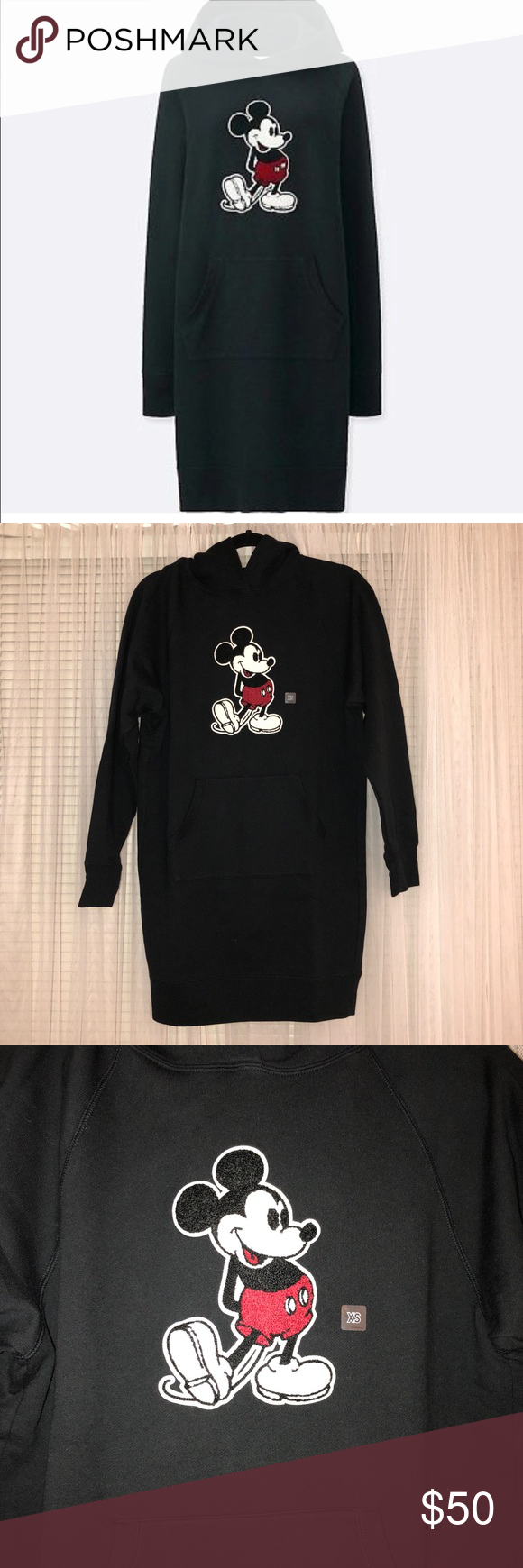 4839785bbba UNIQLO Mickey Graphic Sweat Long Sleeve Dress Women s UNIQLO Mickey Stands  Graphic Sweat Long Sleeve Dress with Hood. Color is black