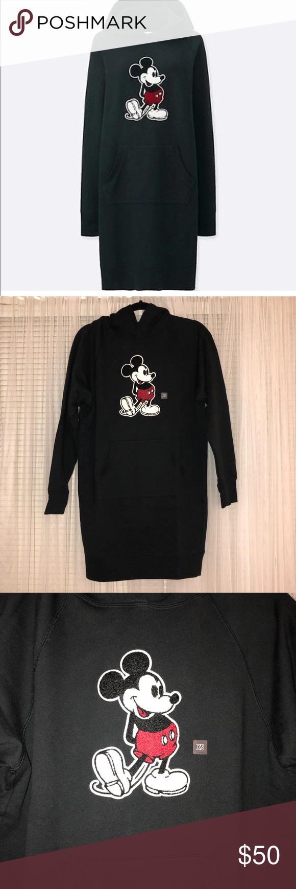 6d68ab1d46c UNIQLO Mickey Graphic Sweat Long Sleeve Dress Women s UNIQLO Mickey Stands  Graphic Sweat Long Sleeve Dress with Hood. Color is black