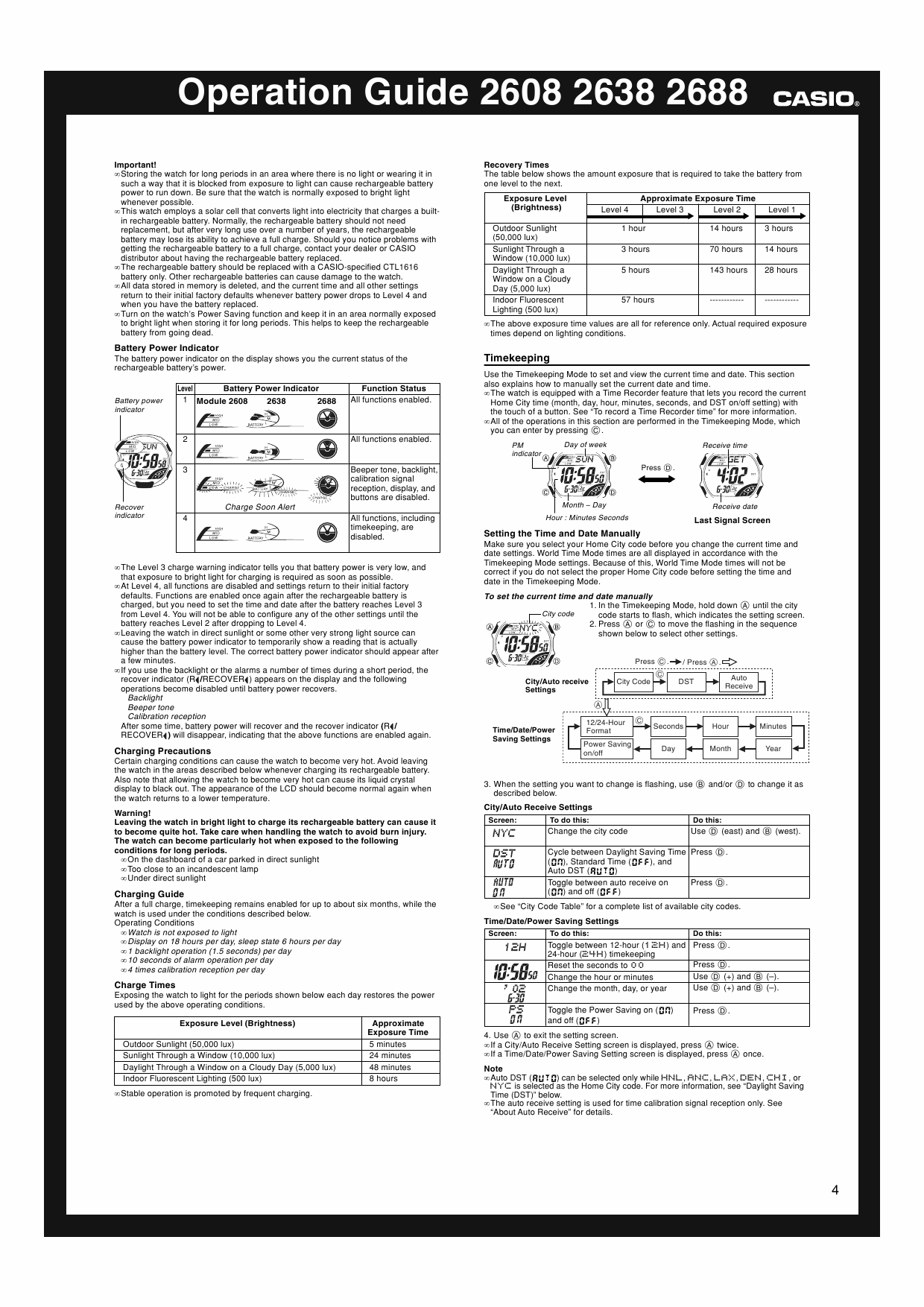 Page 4 of the owner's manual for the Casio Module number