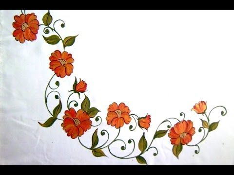fabric painting bed sheet painting corner designs - Painting Sheets