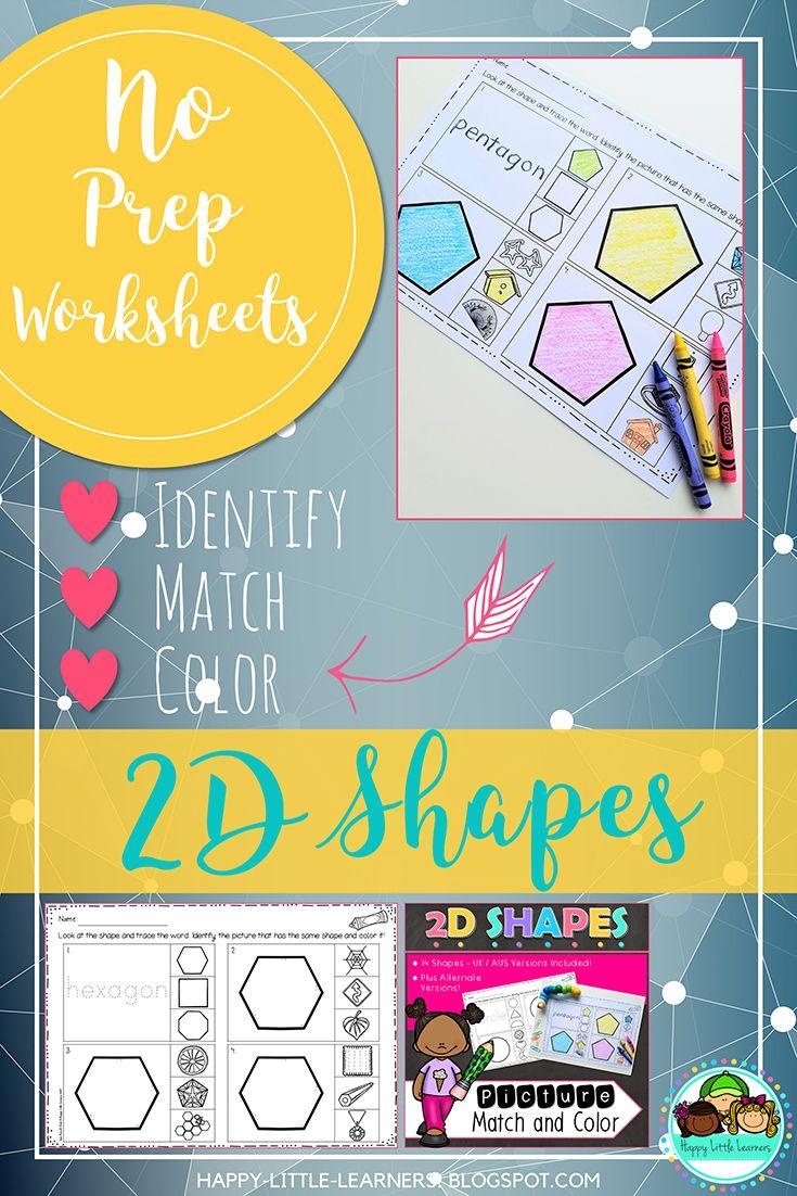 2D Shape Match and Color No Prep Worksheets   Worksheets, Student ...