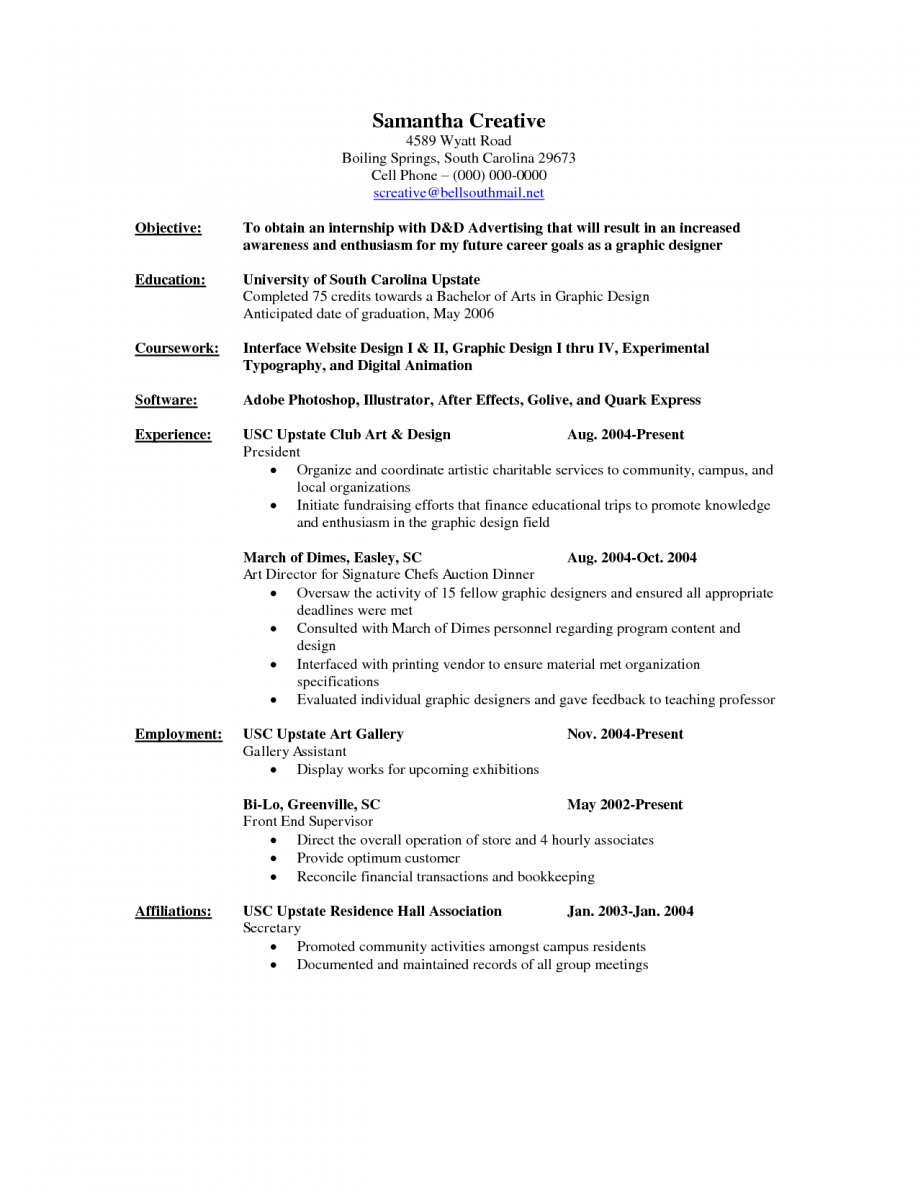 graphic design fresher resume objective