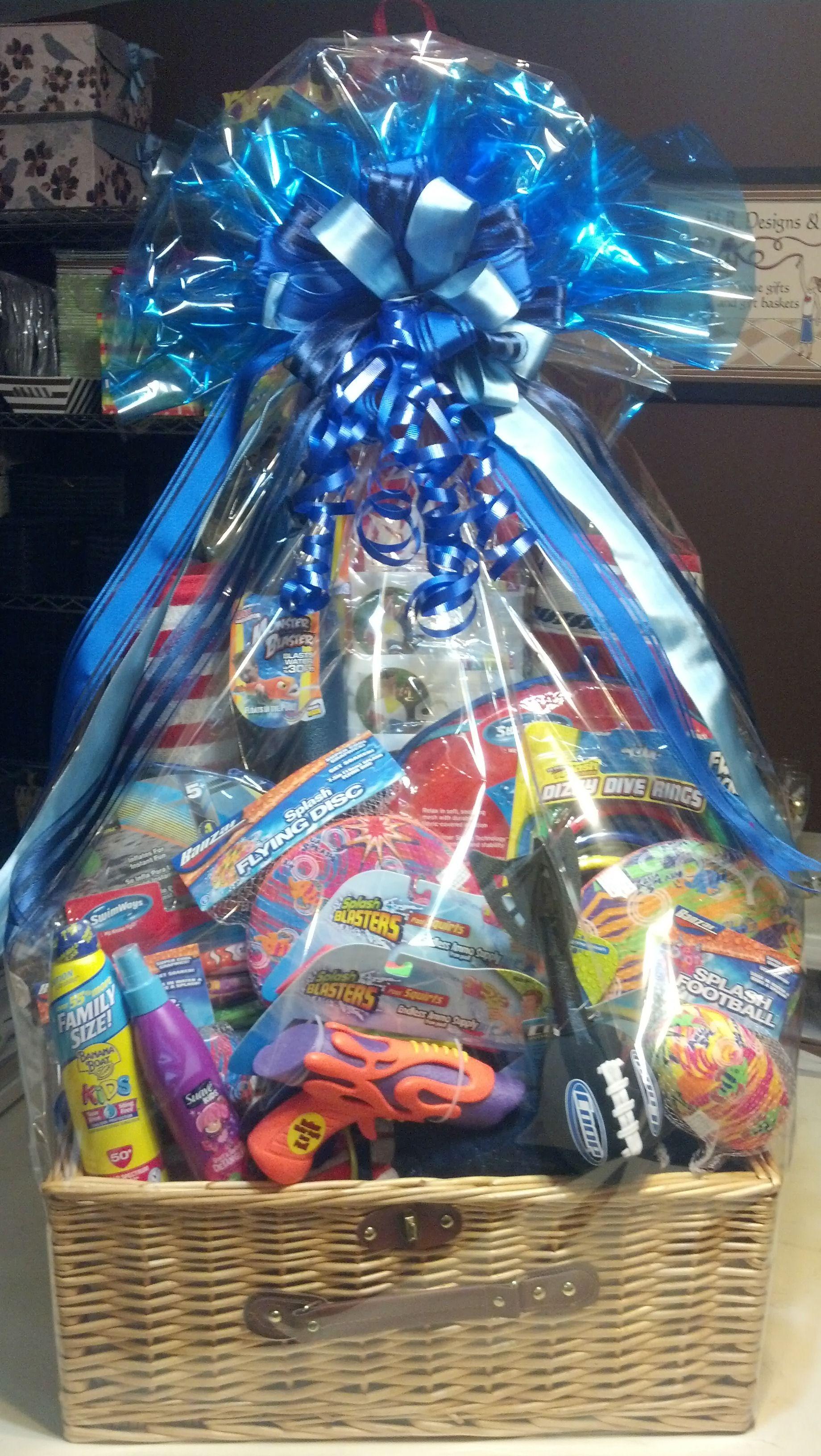 "custom ""pool time"" gift basket raffle prize | ptso raffle basket"