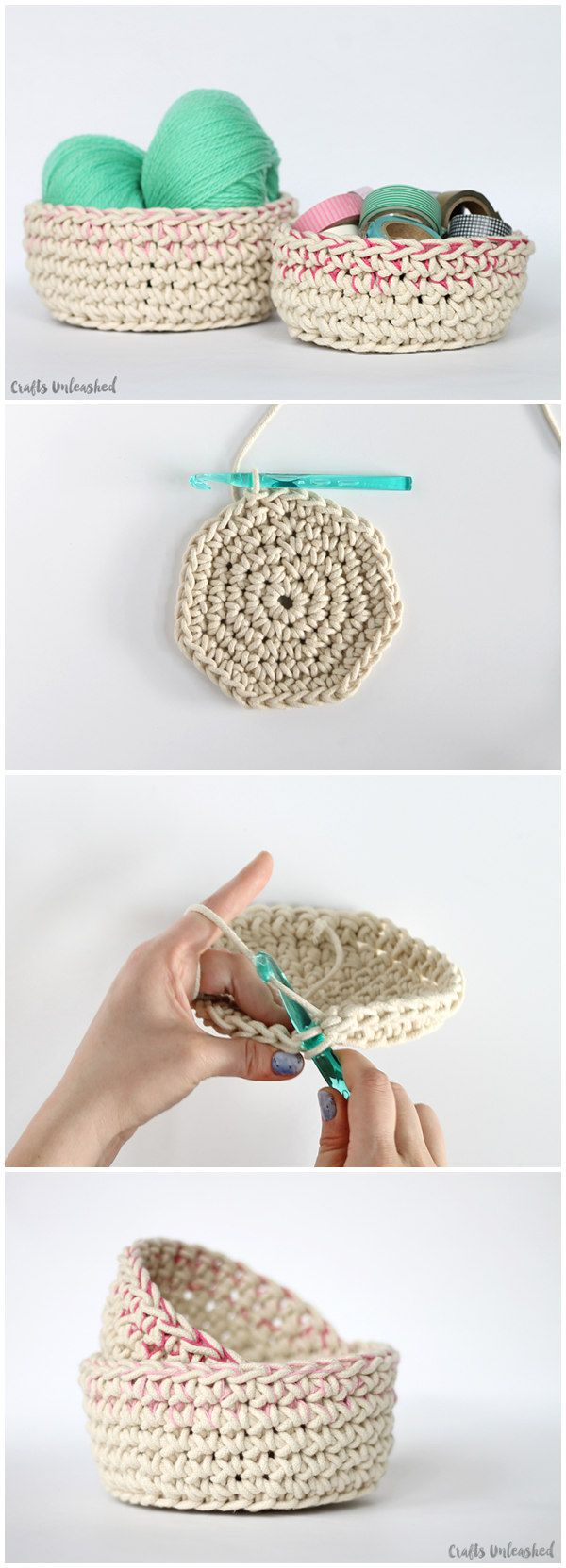 Color Block Crochet Basket Pattern | GANCHILLO / CROCHET | Pinterest ...