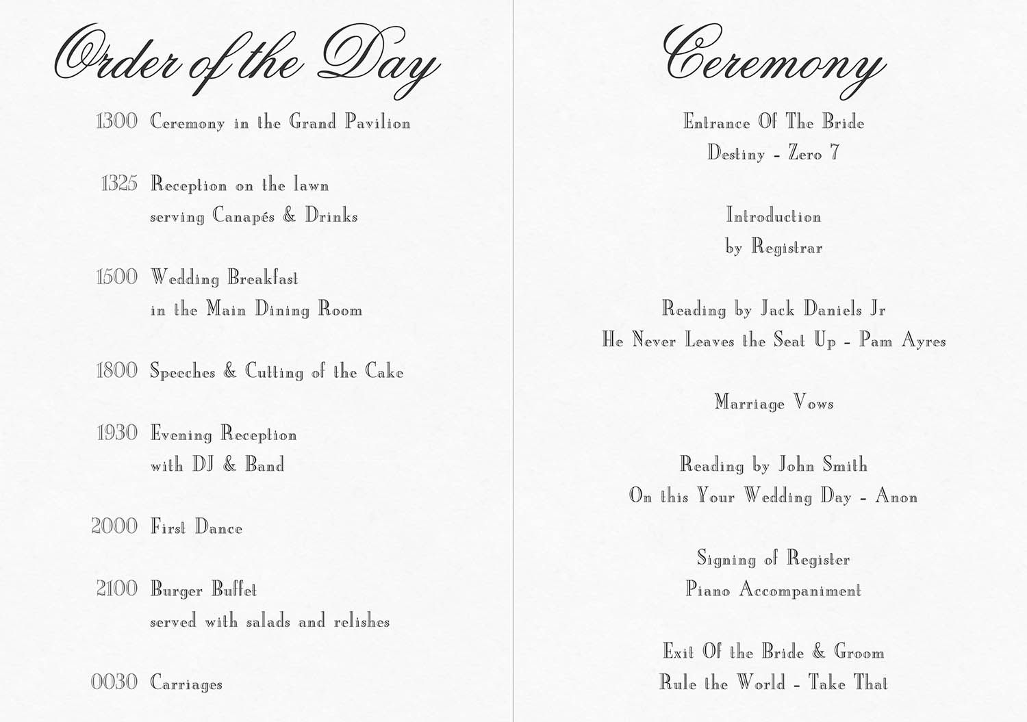 Civil Ceremony Order Of Service Google Search