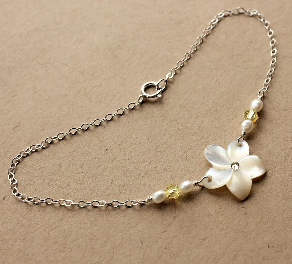 hawaiian flower bling white opal ankle jf plumeria bracelet jewelry inlay anklet