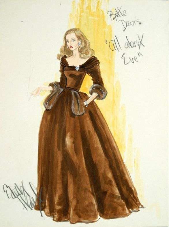 Edith Head S Designs For Bette Davis All About Eve 1950 Edith Head Designs Edith Head Fashion Costume Design Sketch