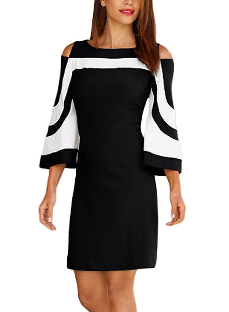84f91519ef Elapsy Womens Casual 3 4 Bell Sleeve Cold Shoulder Colorblock Club Party  Shift Dress