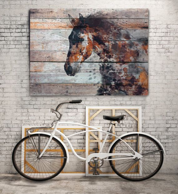 Fire Horse Extra Large Unique Wall Decor Brown Rustic Contemporary Canvas Art Print Up To 72 By Irena Orlov For