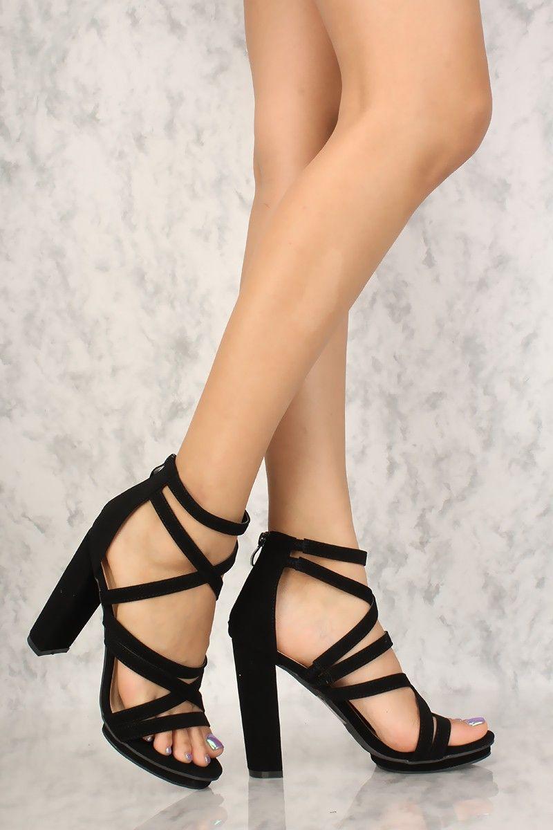 black open toe strappy heels