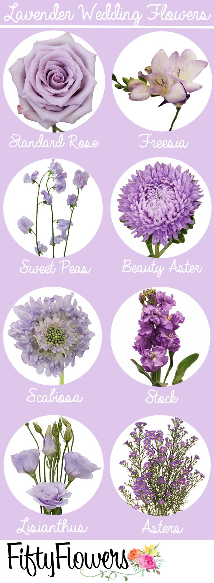 Find the perfect lavender flowers for your wedding at FiftyFlowers.com #purpleweddingflowers