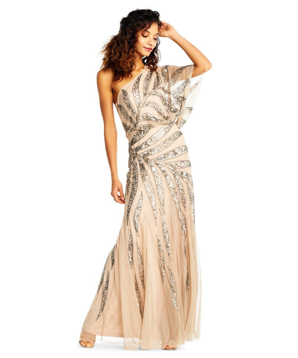 Adrianna Papell One Shoulder Blouson Gown With Vine Beading ...