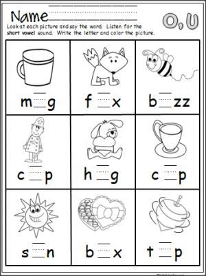 Short Vowel Practice Write O Or U Kindergarten Writing Homeschool Reading Three Letter Words
