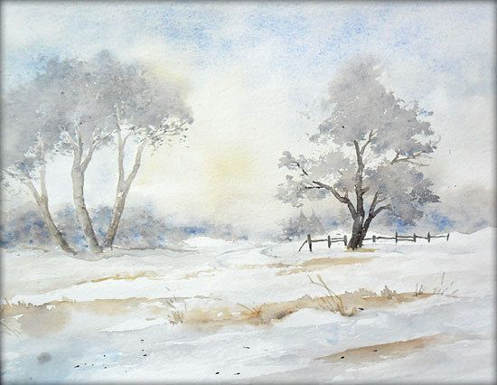 Winterimpressionen Aquarell 24 X 32 Cm Original