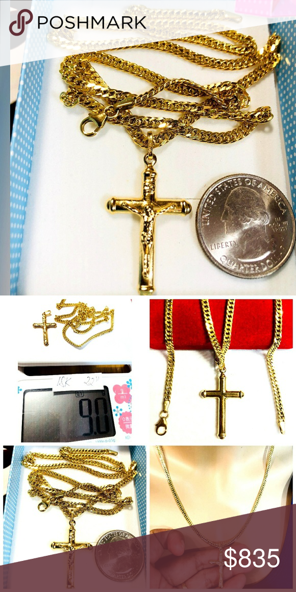 Real 18k Gold Men S Cross Necklace Men S Real 18k Saudi Gold Cross Necklace Contains 22 Inches Long Mens Cross Necklace Gold Accessories Jewelry Mens Crosses