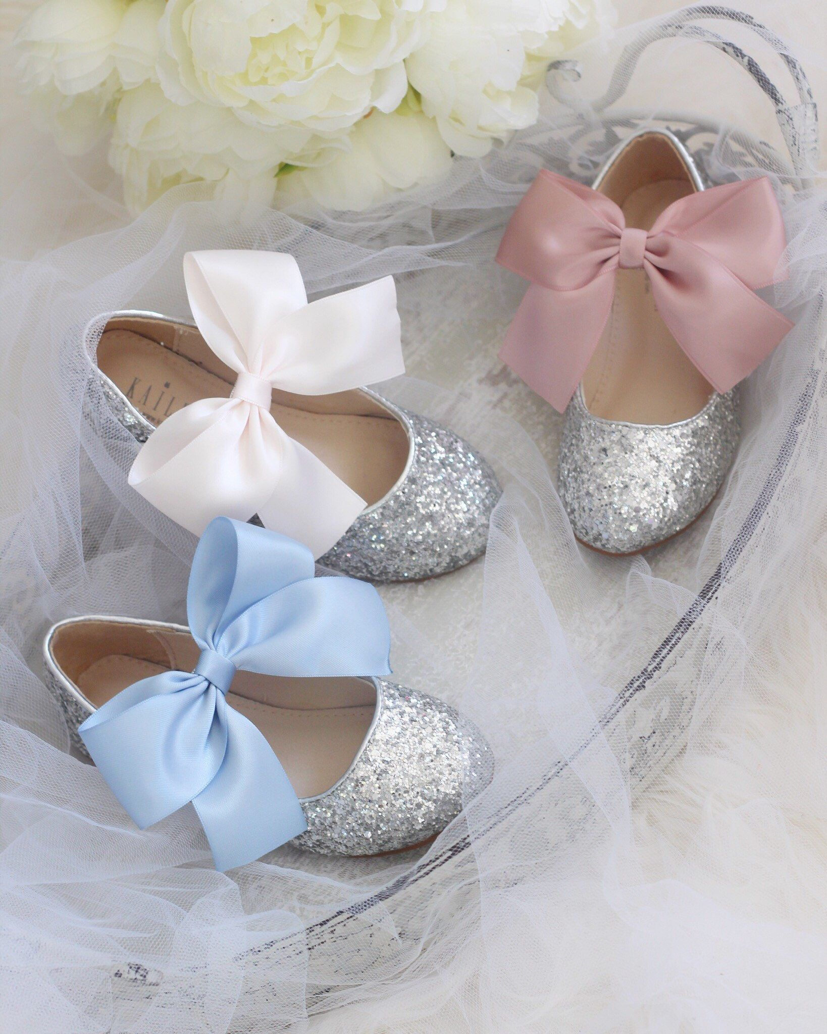 545ac3da8082 SILVER rock glitter mary-jane with DUSTY BLUE - Slate wedding ribbon bow -  Flower