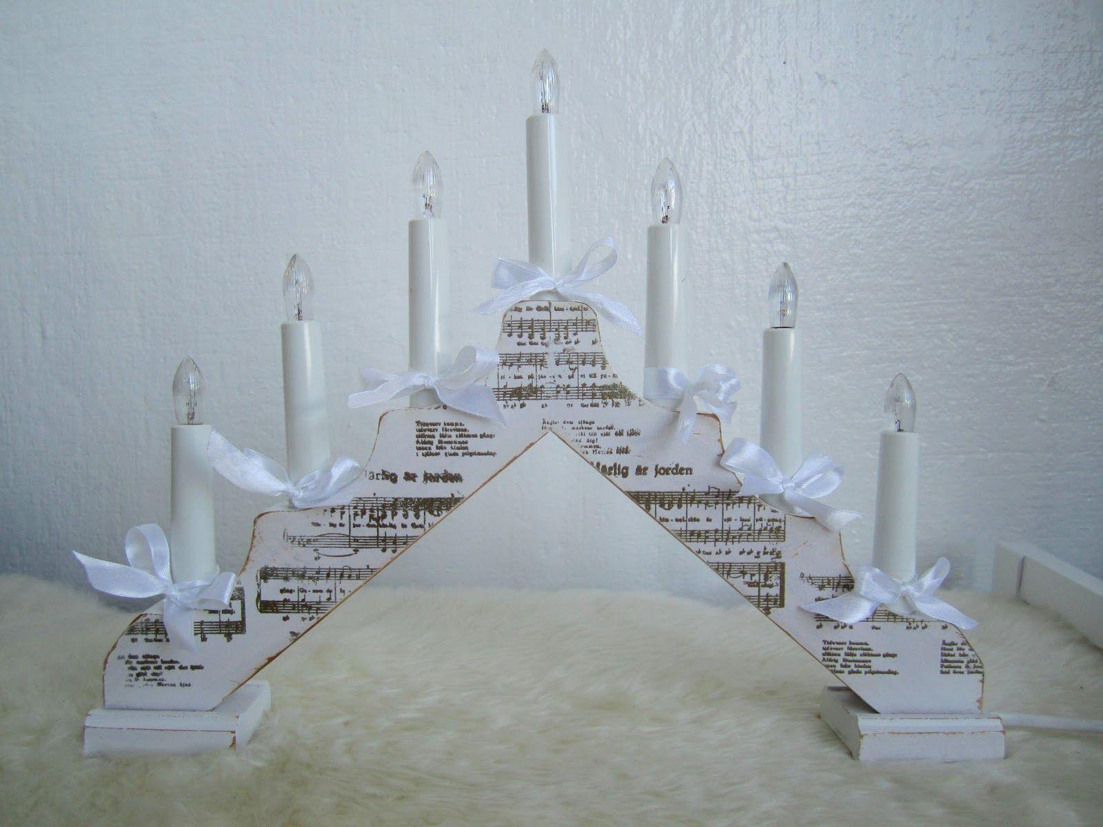 An altered adventsljusstake by GDT Anneth  http://blog.pysseldags.com/2012/12/ljusstake-la-shabby-chic.html http://shop.pysseldags.se